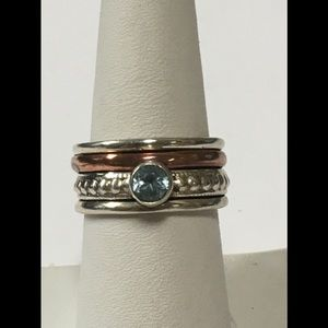 Sterling Silver Copper and Blue Topaz Ring